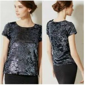 Anthropologie Leifsdottir Blue Sequin Top